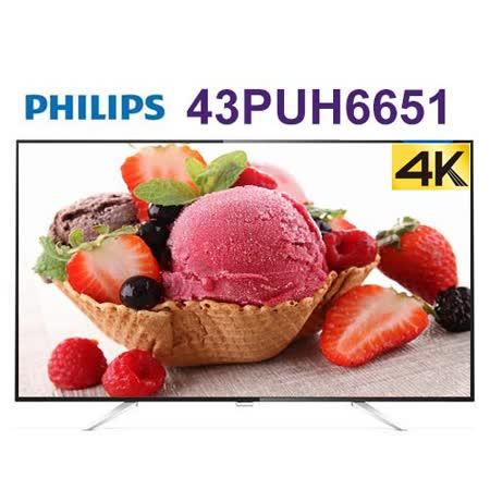 PHILIPS 飛利浦43吋 IPS 4K 聯網液晶顯示器+視訊盒 (43PUH6651) 送威剛32G記憶卡(附轉卡)*1片+HDMI線