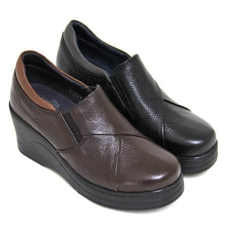 【GREEN PHOENIX】素面裁剪造型套入式手縫全真皮厚底氣墊鞋