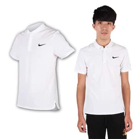 (男) NIKE 翻領短袖針織衫- POLO衫 短T 費德勒 網球 白黑