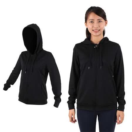 (女) MJ3 抗UV吸排連帽夾克-慢跑 路跑 連帽外套 黑