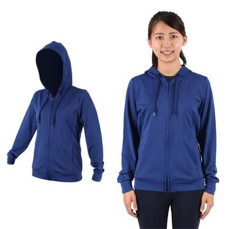 (女) MJ3 抗UV吸排連帽夾克-慢跑 路跑 連帽外套 藍