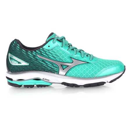 (女) MIZUNO 慢跑鞋 WAVE RIDER 19- 路跑 慢跑 美津濃 綠銀