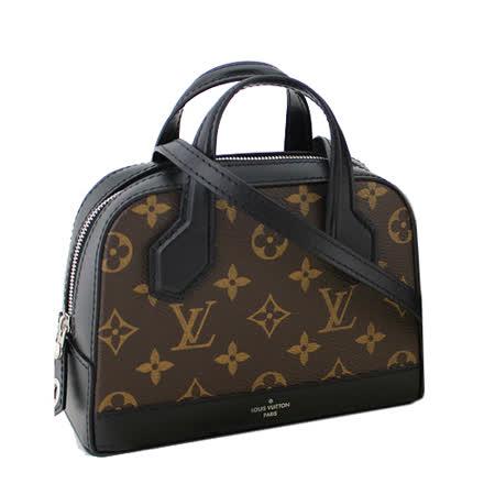 Louis Vuitton LV M41697 Nano Dora 經典花紋皮革拼接小巧斜背包.黑_預購