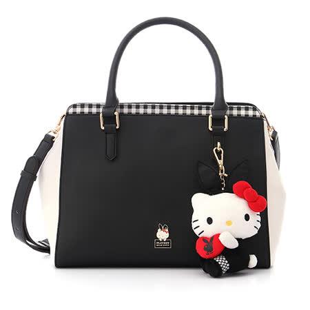 PLAYBOY- Playboy x Hello kitty 兔女郎凱蒂系列 2WAY手提包-百搭格紋