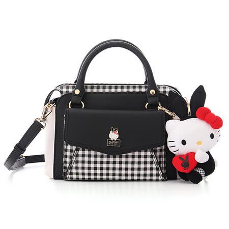 【真心勸敗】gohappy 線上快樂購PLAYBOY- Playboy x Hello kitty 兔女郎凱蒂系列 2WAY典雅手提包-百搭格紋好嗎愛 買 中 和