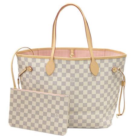 Louis Vuitton LV N41605 NEVERFULL MM 白棋盤格紋子母束口購物包.中_預購