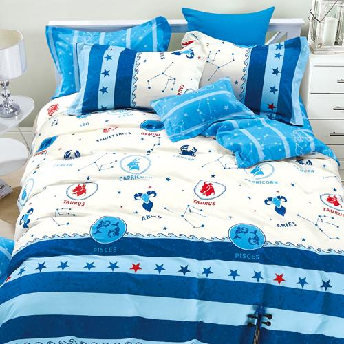 FOCA《星座調色盤》雙人100%精梳棉四件式舖棉兩用被床包組