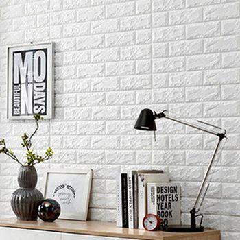 買達人 3D隔音防水泡棉磚壁貼 白 -8入組