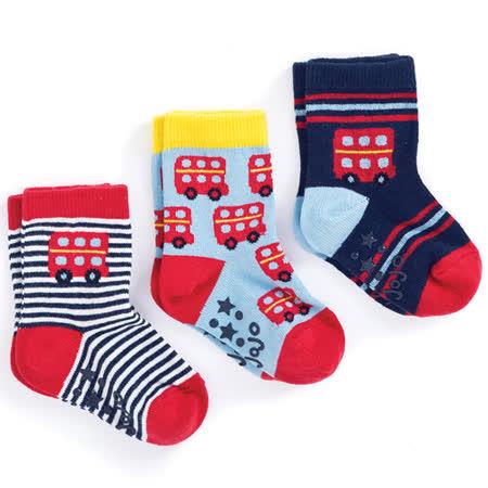 英國 JoJo Maman BeBe 柔細寶寶兒童短襪/棉襪 3入組_紅色公車(JJS3-015)