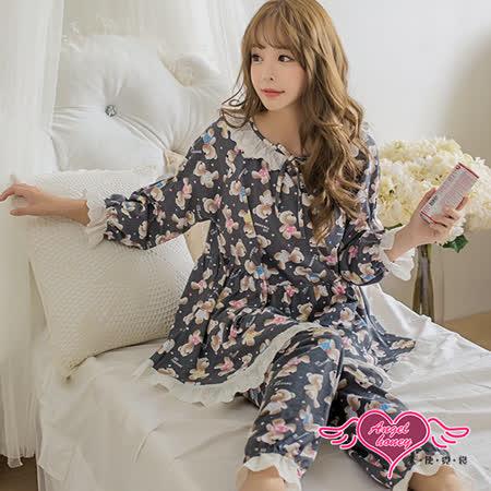 【天使霓裳】睡衣 漂浮小熊 蕾絲長袖兩件式舒適居家睡衣(深灰F)