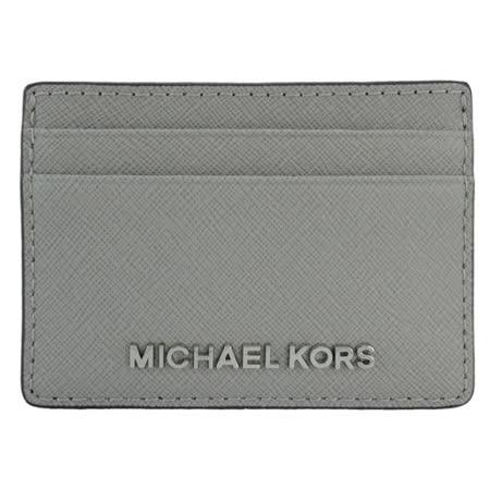 MICHAEL KORS 防刮皮革金屬LOGO證件名片夾(灰)