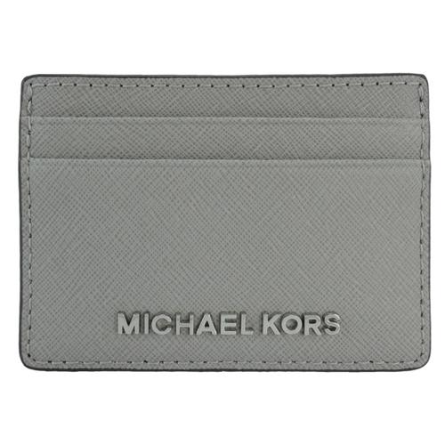 MICHAEL KORS 防刮皮革金屬LOGO證件名片夾^(灰^)