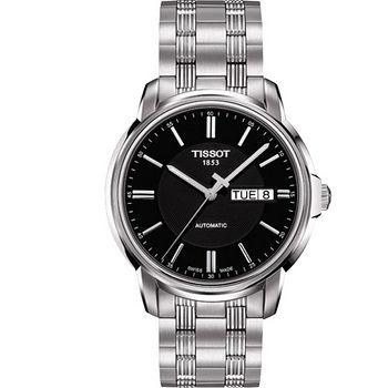 TISSOT 天梭 Automatics III 復古風華時尚機械男錶(黑-40mm) T0654301105100
