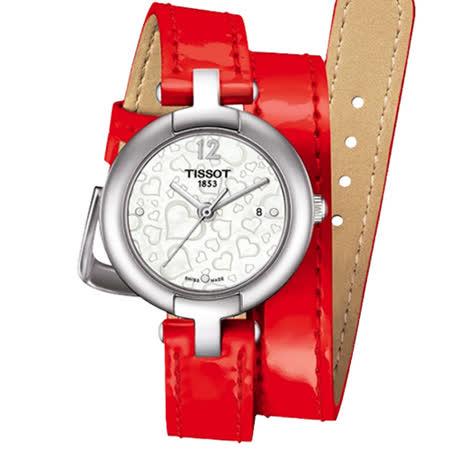 TISSOT 天梭 甜蜜愛戀真鑽腕錶-珍珠貝x紅/28mm/T0842101611700