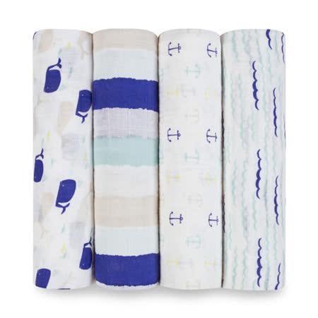 美國aden+anais 輕柔新生兒包巾(4入)-海洋系列AA2055