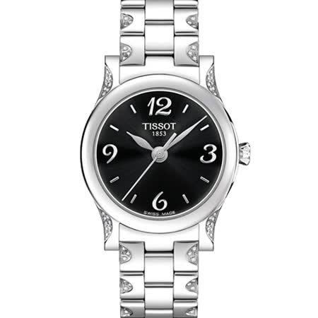 TISSOT 天梭 Stylis-T 真鑽經典優雅石英女用腕錶-黑/28mm/T0282101105701