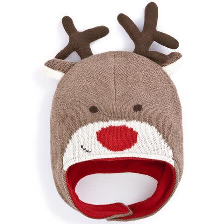 【英國 JoJo Maman BeBe】保暖舒適羊毛帽_歡樂麋鹿 (JJHAT-08)