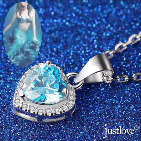 【justlove璀璨配飾】藍色海洋的傳說全純銀防過敏防褪色0.9克拉水晶鑽開運甜心女男短項鍊(海藍 AB-1029)