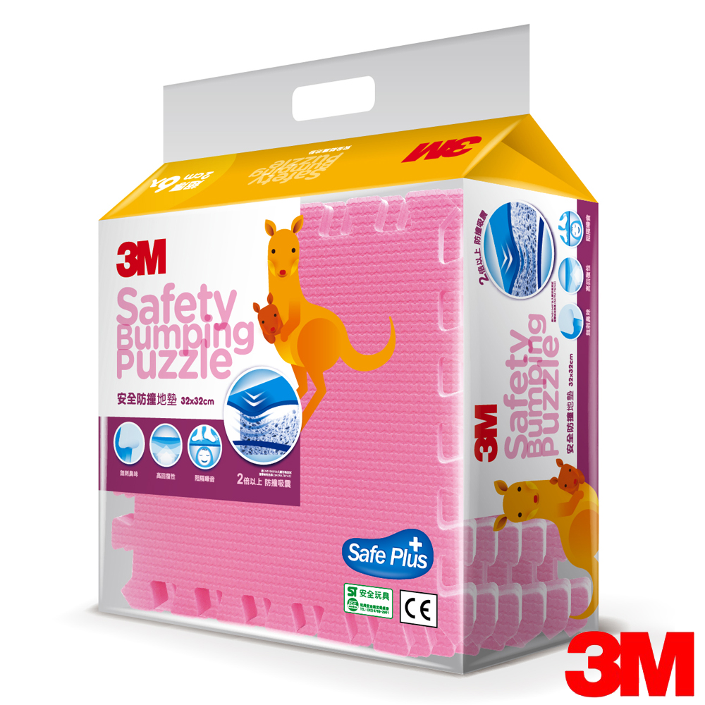 3M 兒童安全防撞地墊32cm^(粉紅色6片^)~9924B