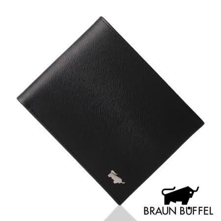 BRAUN BUFFEL 提貝里烏斯系列12卡透明窗短夾(黑色)BF166-317-BK