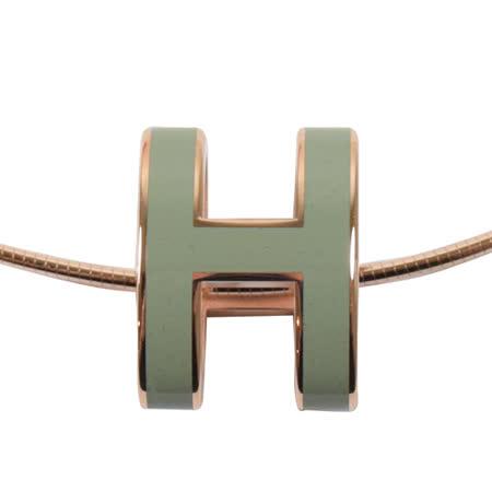 HERMES 時尚配件經典H LOGO橢圓銀飾項鍊.玫瑰金/墨綠