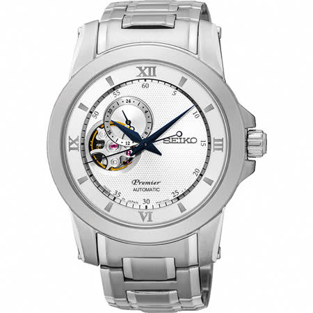 SEIKO Premier 開芯鏤空視窗機械腕錶-銀/40mm 4R39-00P0S(SSA319J1)