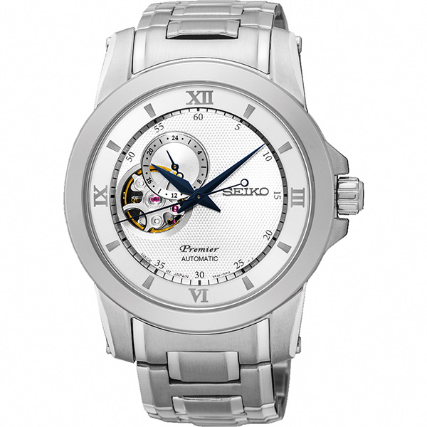 SEIKO Premier 開芯鏤空視窗機械腕錶~銀40mm 4R39~00P0S^(SS
