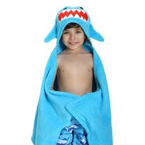 ZOOCCHiNi 可愛動物連帽浴巾/保暖毯-鯊魚(Age 2+)