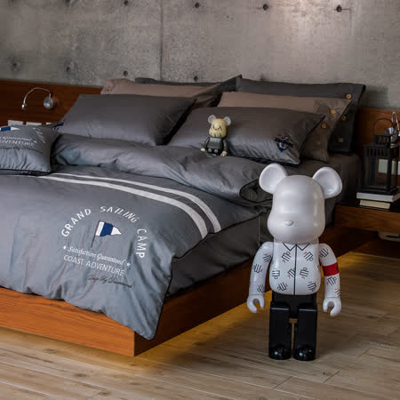 OLIVIA 《航行者 灰》 加大雙人兩用被套床包四件組 品牌設計師原創系列