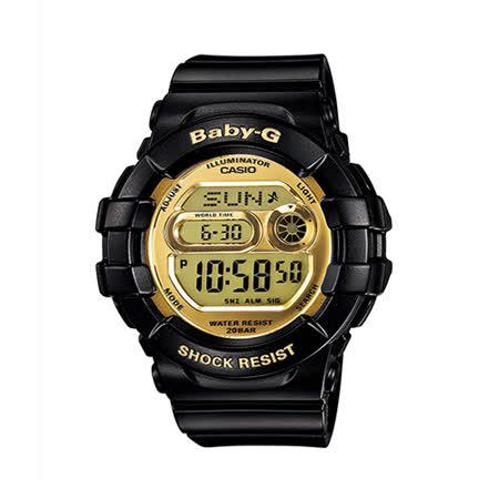 CASIO 卡西歐 BABY-G 黑金時尚運動大錶徑電子腕錶/黑/BGD-141-1