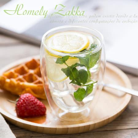 【Homely Zakka】午茶食光隔熱保溫双蓋雙層玻璃杯/竹蓋密封罐/輕食甜點杯 (350ml)