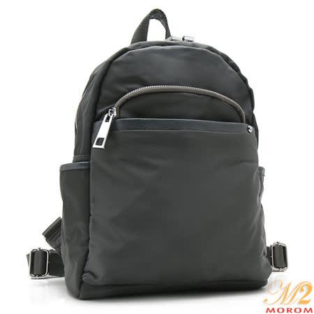 【MOROM】真皮多口袋輕量後背包(灰色)1617