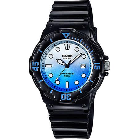 CASIO 清涼海洋風女錶-漸層藍x黑 LRW-200H-2EVDR
