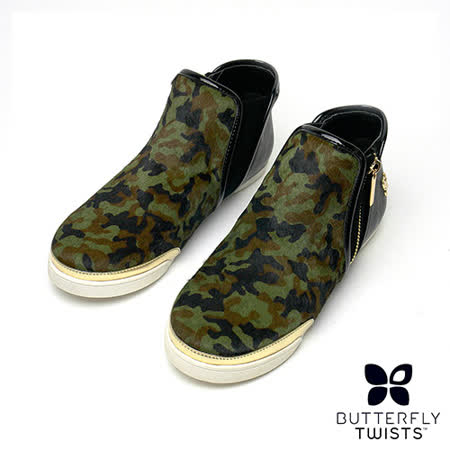 BUTTERFLY TWISTS-ALEXIS記憶軟墊短靴-迷彩綠