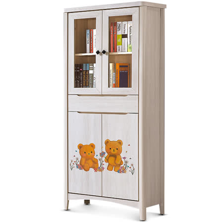 MY傢俬 歐風彩繪栓木2.6尺書櫃
