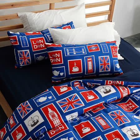 美夢元素 台灣製天鵝絨 大英風情 加大三件式床包組
