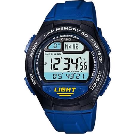 CASIO 運動紀錄腕錶-藍 W-734-2AVDF