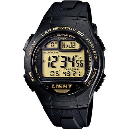 CASIO 運動紀錄腕錶-黑金 W-734-9AVDF