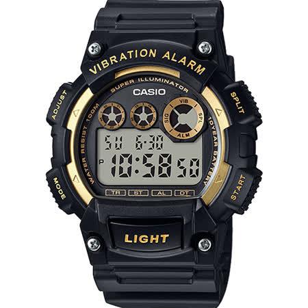 CASIO 十年電力腕錶-黑金 W-735H-1A2VDF