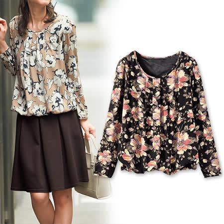 日本Portcros 預購-折縫造型上衣-印花款(淺駝系)