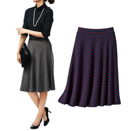 日本Portcros 預購-氣質及膝條紋短裙-藏青×酒紅/LL