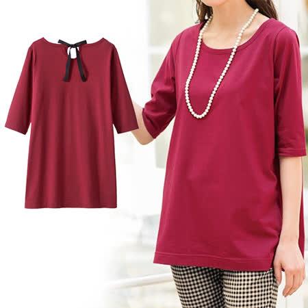 日本Portcros 預購-背綁結五分袖純棉T恤-酒紅色/LL