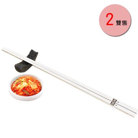 PUSH!餐具用品304不銹鋼韓式扁筷子金屬筷子衛生安全筷2雙E70