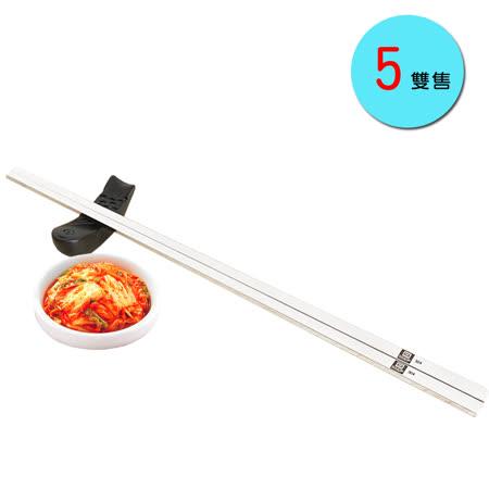 PUSH!餐具用品304不銹鋼韓式扁筷子金屬筷子衛生安全筷5雙E70