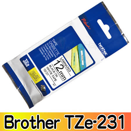 Brother TZe-231 護貝標籤帶 12mm 白底黑字