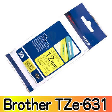 Brother TZe-631 護貝標籤帶 12mm 黃底黑字