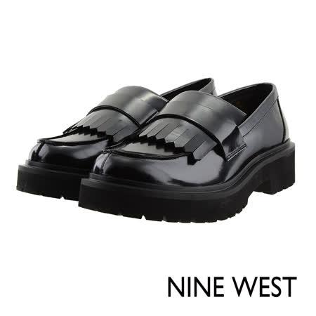 NINE WEST--摩登個性厚底低跟樂福鞋--冷豔黑