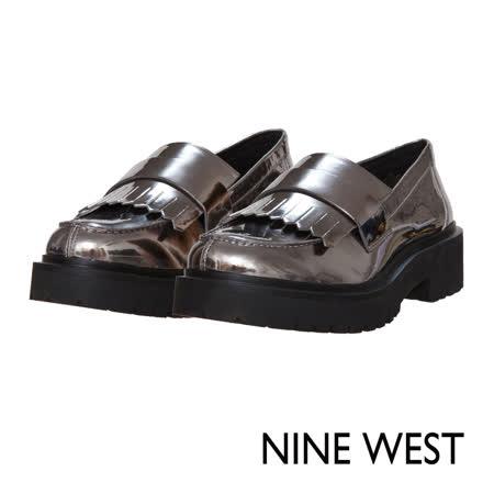 NINE WEST--摩登個性厚底低跟樂福鞋--閃耀銀