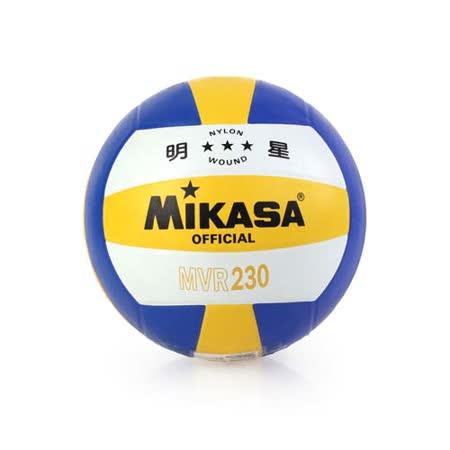 MIKASA 彩膠排球 MVR230-5號球 黃藍白 F