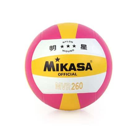 MIKASA 彩膠排球 MVR260-5號球 桃紅黃 F